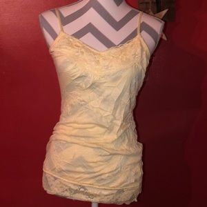 Maurices Yellow Wrinkled Lace Tank Top